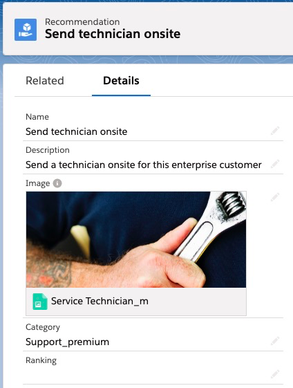 "Close-up of a Recommendation that says ""Send technician onsite."" The ""details"" tab is selected."
