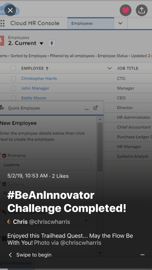 Be An Innovator Challenge Completed! Twitter moment screenshot
