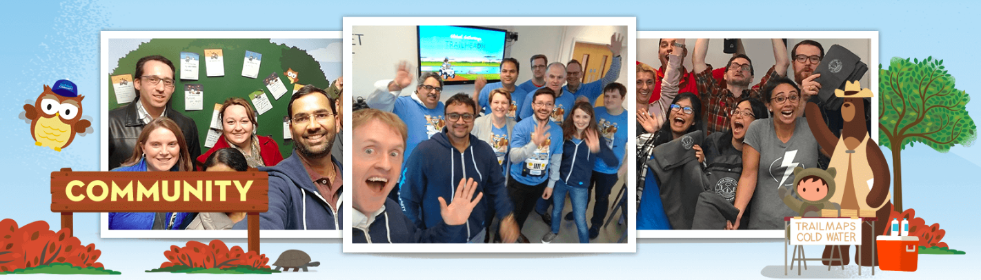 Salesforce Trailhead background and Hootie owl, Astro, and Codey with three photos of TDX 2018 attendees while they participate in TrailheaDX