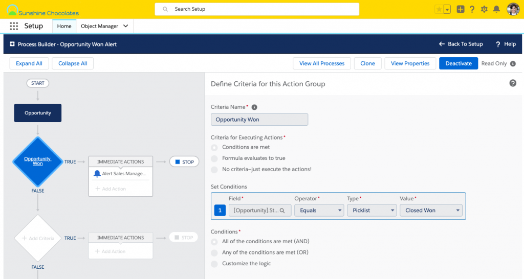 Alt text: Screenshot of Process Builder in Setup, creating a new process on the Opportunity object with the conditions set to Status equals picklist value Closed Won.