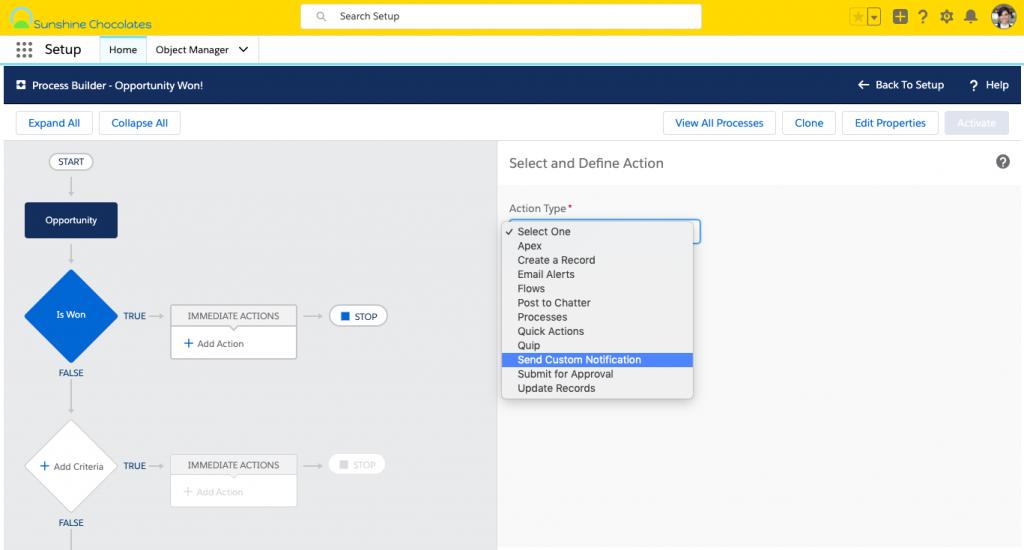 Alt text: Screenshot of Process Builder, selecting Send Custom Notification as Immediate Action.
