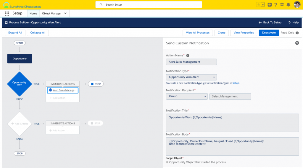 Alt text: Screenshot of Process Builder with custom notification as Immediate Action and custom notification tile and body using merge fields.