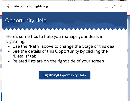 Opportunity help as in-app guidance for Salesforce