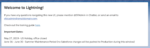 "Salesforce News page component that reads ""Welcome to Lightning"""