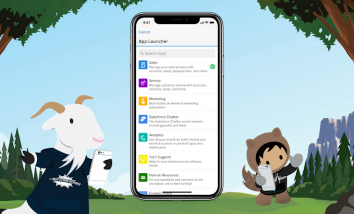 Salesforce mobile app on an iPhone X screen with Trailhead characters Cloudy on the left and Astro on the right