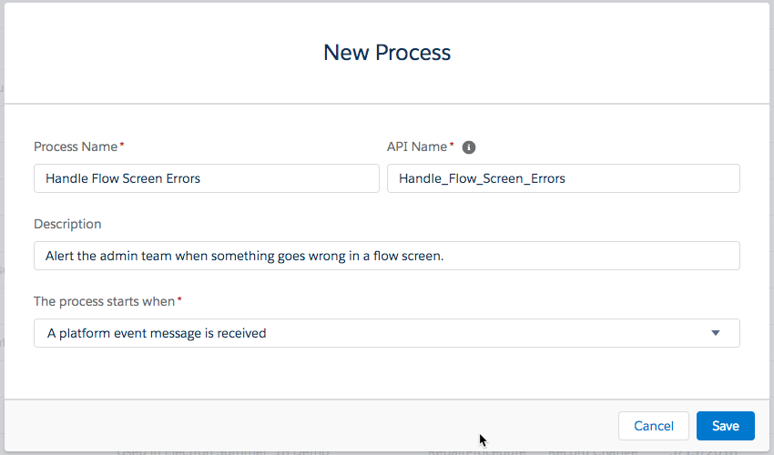 "blank ""New Process"" box in Process Builder tool"