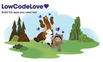 """Astro, Cloudy, and Codey dancing on a landscape of green hills with small purple hearts surrounding them. """"LowCodeLove"""" is written in the top left corner."""