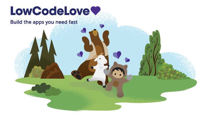 "Astro, Cloudy, and Codey dancing on a landscape of green hills with small purple hearts surrounding them. ""LowCodeLove"" is written in the top left corner."