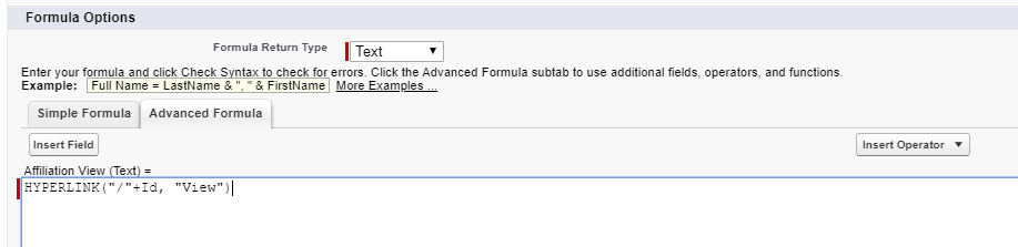 """Formula field options with HYPERLINK(""""/""""+Id, """"View"""") in text field"""