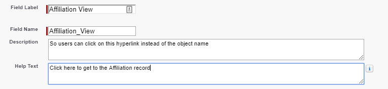 """creation of field label with """"Affiliation View"""" in the field label and name text boxes and """"click here to get to the affiliation record"""" in the help text box"""
