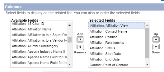 """Add column for """"Affiliation View"""""""