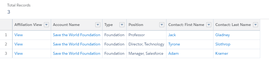 new Affiliation Name column report view
