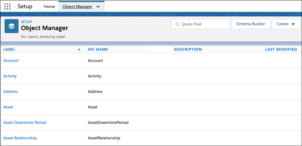 Object Manager in Salesforce Setup