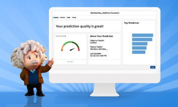 Salesforce Einstein character standing to the left of a wide computer monitor with a simulated prediction on the screen
