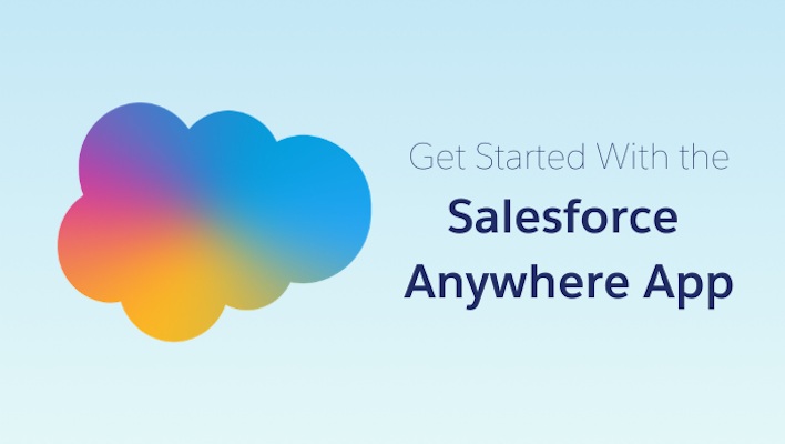 """Rainbow ombre Salesforce cloud on the left with the text """"Get Started with the Salesforce Anywhere App"""" on the right"""
