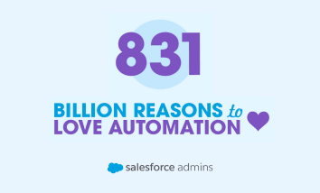 light blue background with text that reads 831 Billion reasons to love automation in purple font