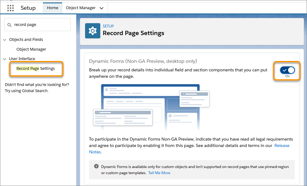 dynamic forms setup page enable