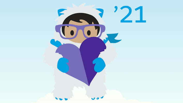 Yeti Astro wearing glasses, holding a purple heart, on a light blue background with a small '21' to the right of Astro's head