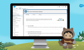 Astro standing on the grass with a Salesforce blue background holding a security sign. There is a Mac monitor with a screenshot of the new Multi Factor Authentication Assistant shown