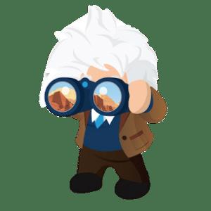 Einstein holding binoculars