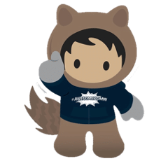 Astro waving in awesome admin sweatshirt