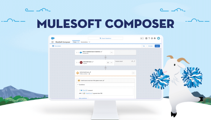 mulesoft composer image with cloudy cheering on