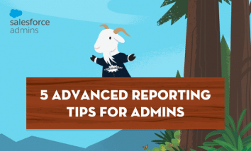 "Title image with Cloudy and a sign reading ""5 Advanced Reporting Tips for Admins"""