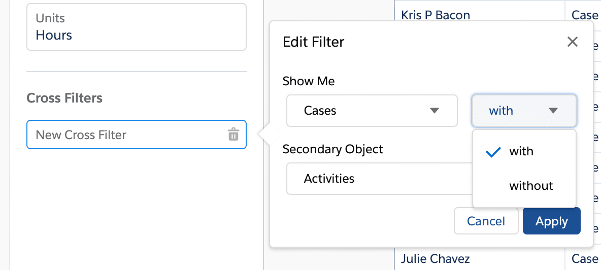 cross filter reports in salesforce