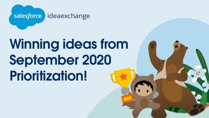 Text: Winning ideas from September 2020 Prioritization! with Codey and astro image background