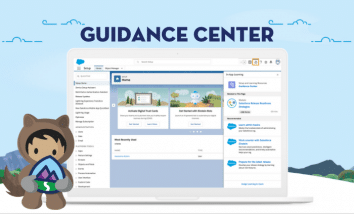 Astro holding Trailhead icon standing in front of a laptop with the Guidance Center on the screen