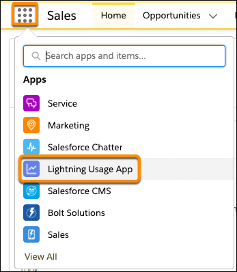 The App Launcher menu with Lightning Usage App selected