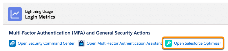 Login Metrics tab header with links to actions; the link for Open Salesforce Optimizer is selected