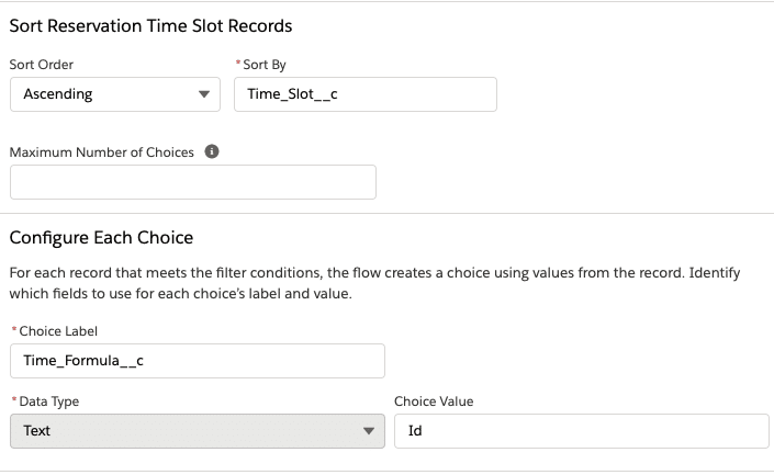 Flow configuration options for entry time Record Choice Set