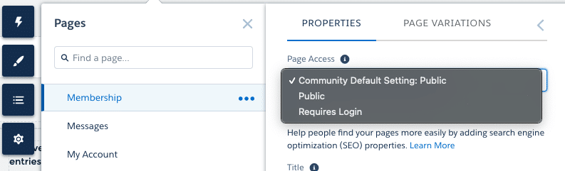 Community page visibility options