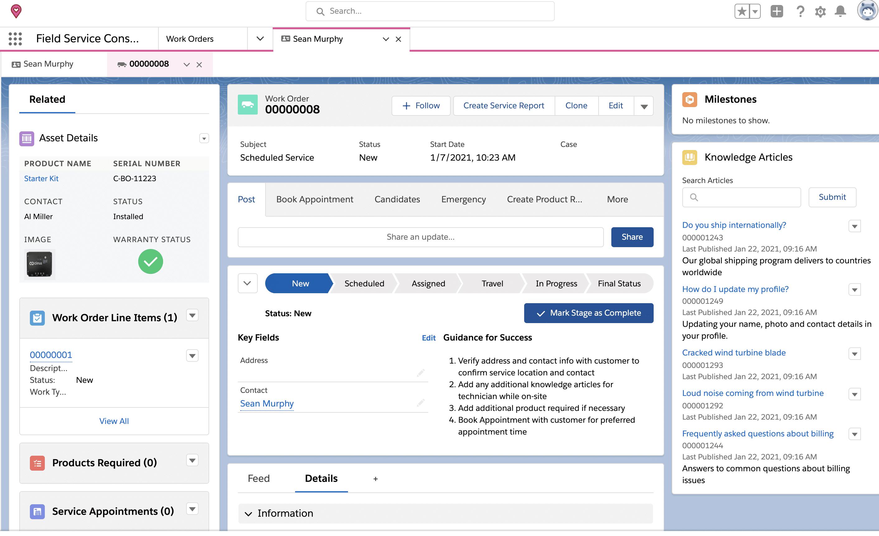 New service work order in Salesforce