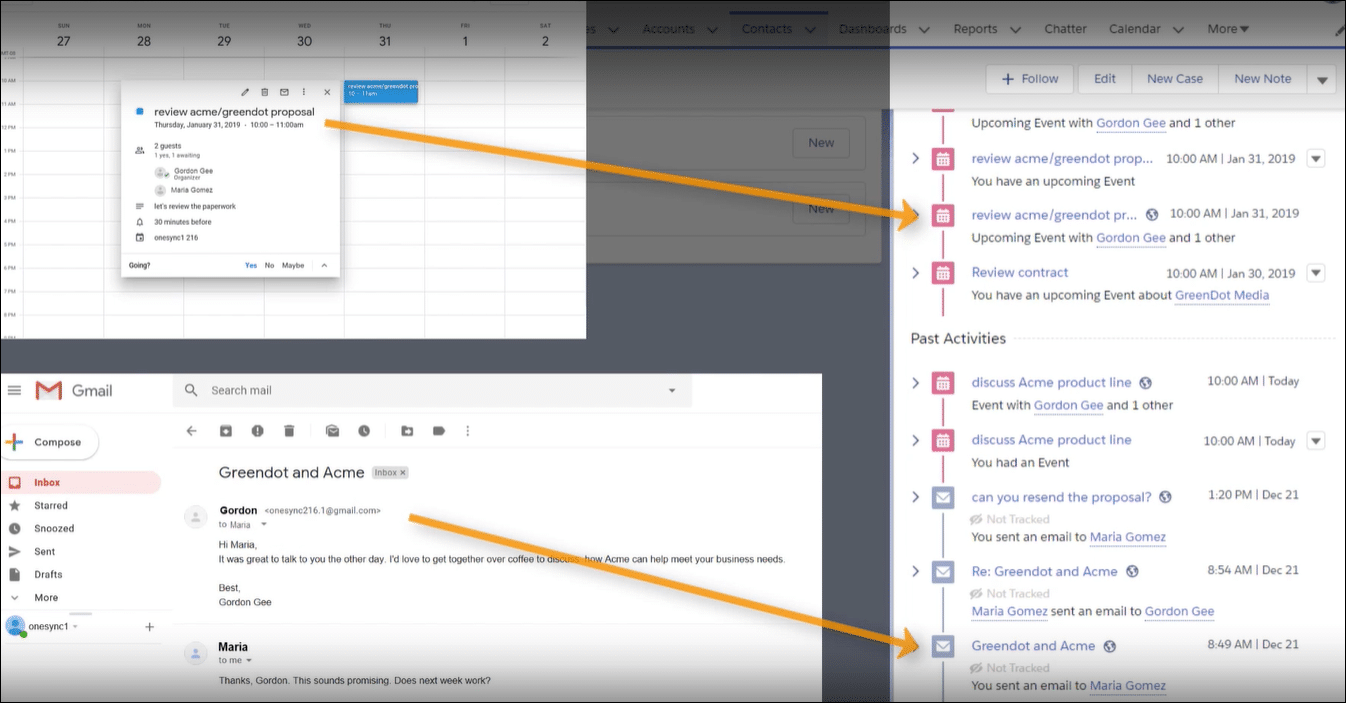 Events and emails are added to the activity timeline of related Salesforce records