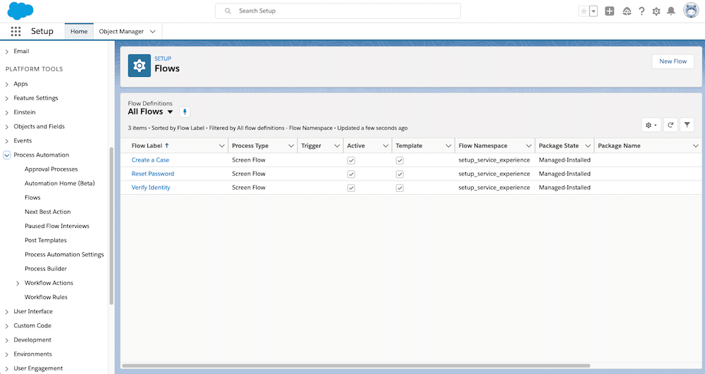 Standard Flows available to Service Cloud customers in Flow