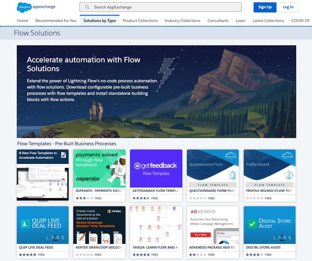 Easily install Flow Templates from the AppExchange.