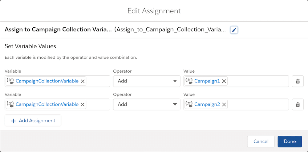 """""""Add Campaign to Collection"""" assignment element"""