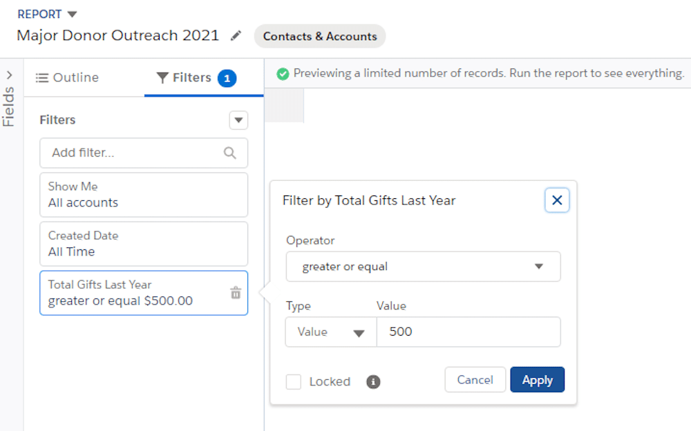 Example image of assigning a group of contacts to campaigns using a report.