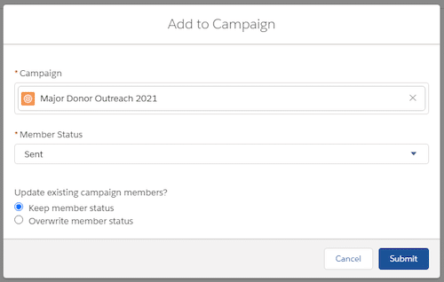 Example of adding contacts to a campaign.