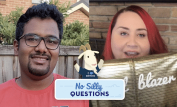 """""""No Silly Questions"""" image with Jakson Monteiro and Sasha Taylor."""
