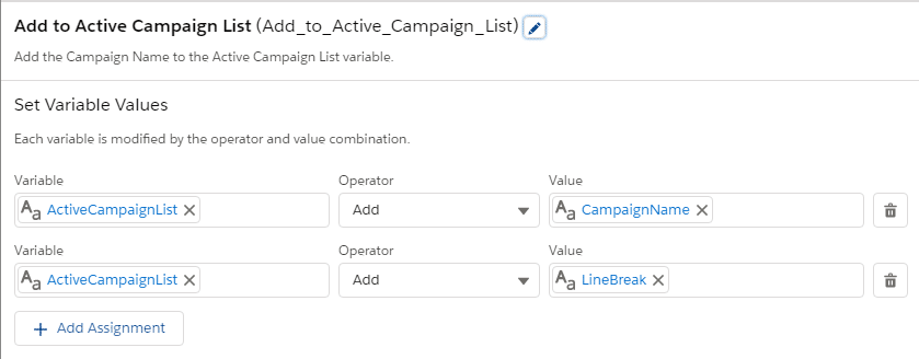 Image of the CampaignName variable we added earlier.