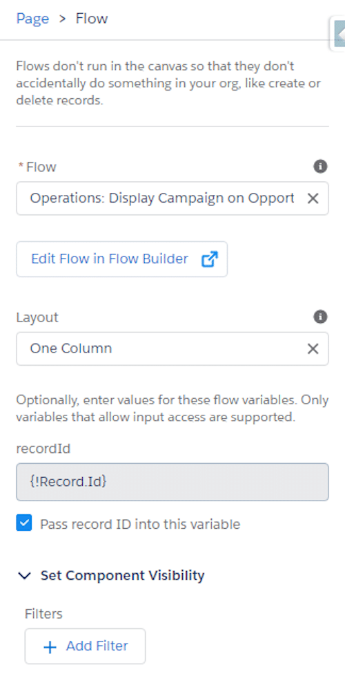 Image showcasing how you can use the component to pass the opportunity's record ID value into that variable for use in the flow.