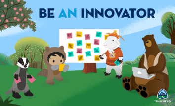 Astro, Cloudy, and Codey brainstorming for #BeAnInnovator.