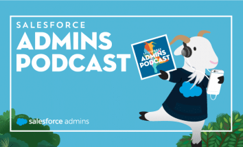 Image of Cloudy listening to the Salesforce Admin Podcast.