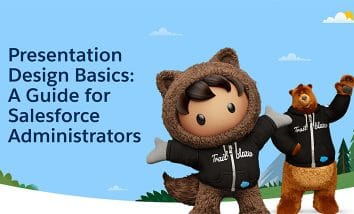 "Astro and Cloudy next to text that says ""Presentation Design Basics: A Guide for Salesforce Administrators"""