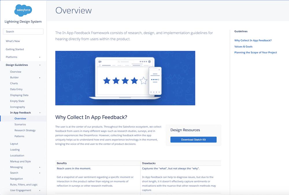 Overview of the In App Feedback framework on the Lightning Design System site.