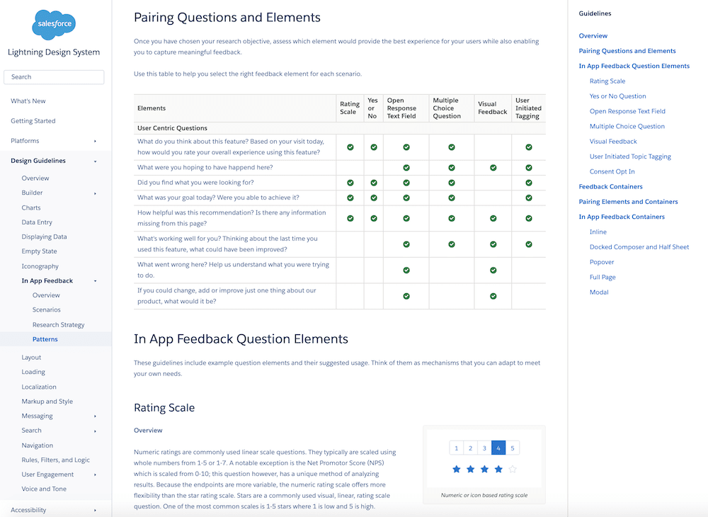 Screenshot from the SLDS site that helps you determine the right feedback element for different scenarios.