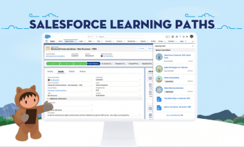 Astro standing next to a computer screen that displays Salesforce Learning Paths.